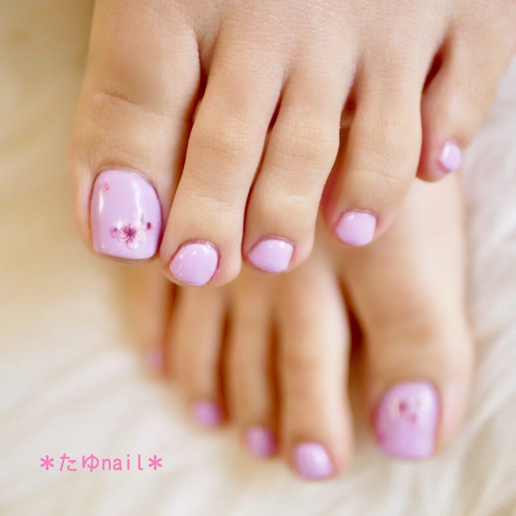 パープル桜フットネイル、ピンク桜フットネイル