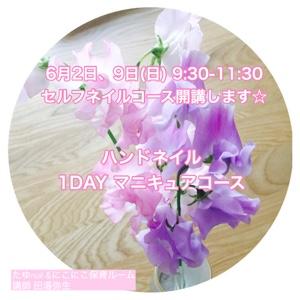 【残3名様】6月2日、6月9日(日)ハンドネイル1DAY マニキュアコース開講します☆