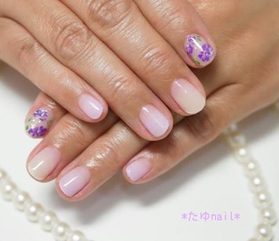 紫陽花ネイル、ワンカラーネイル、たゆnailデザイン