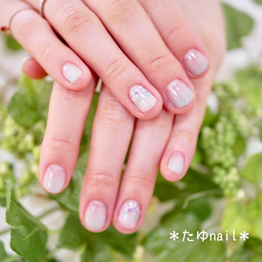 シェル紫陽花ネイル