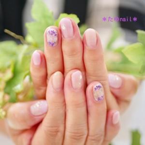 フットネイルケア、ラメグラデーション、紫陽花ネイル