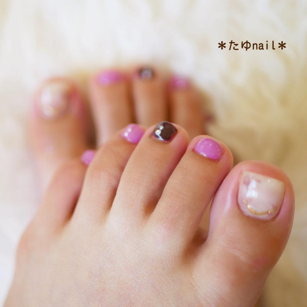 秋カラー☆タイダイフットネイル