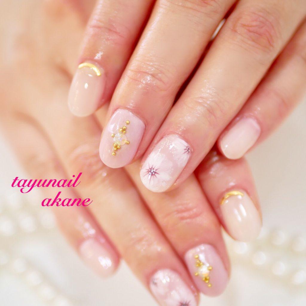 ツイードフットネイル、ピンクタイダイネイル、桜ネイル、パラジェル♪