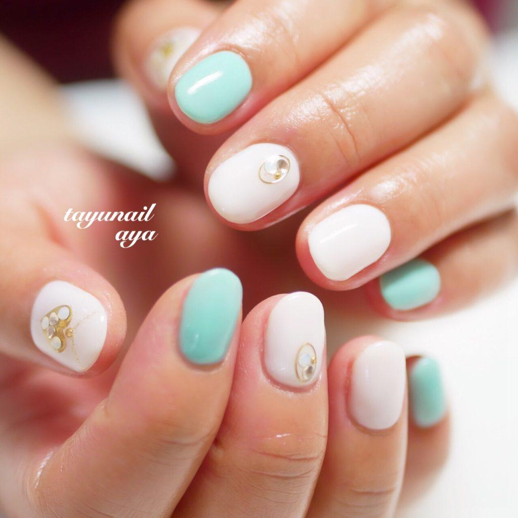 パラジェル☆ターコイズハートネイル、ネイルオフケア、ピンクベージュネイル、春ホワイトネイル