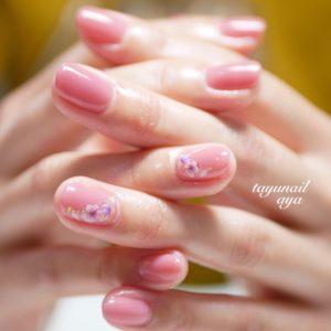 桜ピンクネイル、ネイルケア、桜フットネイル、春ワンカラーネイル☆パラジェル☆