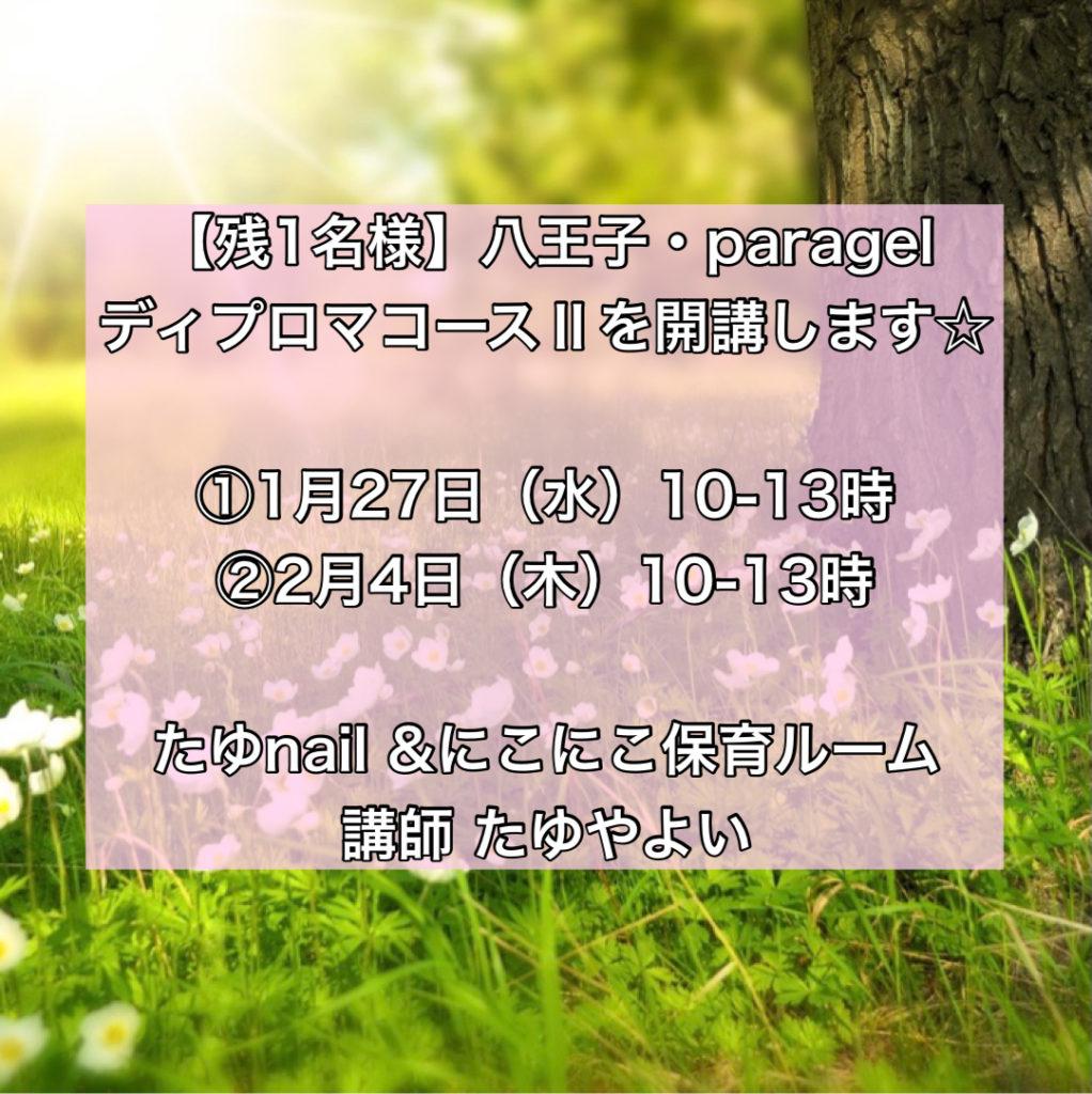 【残1名様】1/27(水)・2/4(木)パラジェルディプロマコースⅡを開講します☆